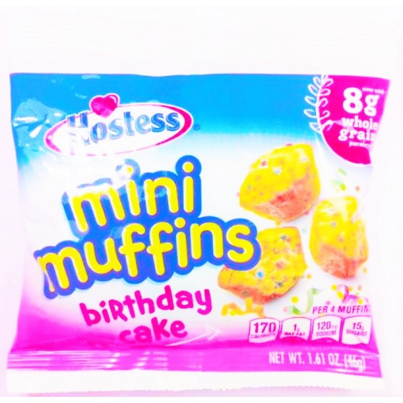 Remarkable Hostess Whole Grain Mini Muffins Birthday Cake Snackoree Com Funny Birthday Cards Online Eattedamsfinfo