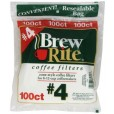 Brew Rite Coffee Filters #4 - 1 Pack of 100-Count Bags